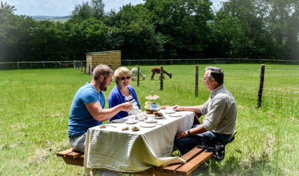 Three people sitting outdoors enjoying a homemade Devonshire cream tea whilst overlooking the alpaca paddocks